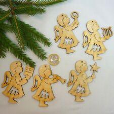 5 Engel Holz Christbaumschmuck DIY selbst gestalten Natur belassen Set Weihnacht