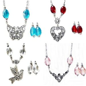 Necklace-Earrings-Set-Crystal-Silver-Charm-choose-color-charm-and-fittings
