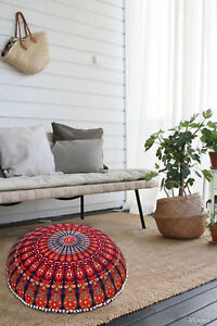 Floor Pillow Mandala Bohemian Indian Sitting Cushion Cover Round