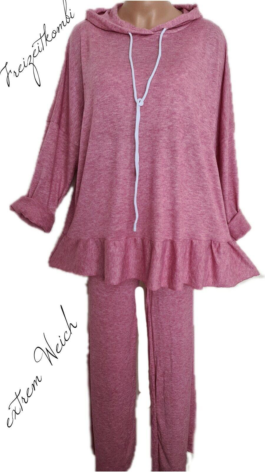 Gr.44-46 Weicher Lounge Dress Lovis (Plum) XL/XXL Hoodie+ Hose Freizeit Anzug