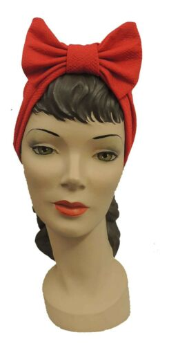 1940s Hair Snoods- Buy, Knit, Crochet or Sew a Snood    Red Vintage 1940s style Bow Turban  £10.00 AT vintagedancer.com