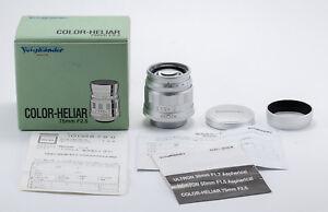 12-LNIB-Voigtlander-Color-Heliar-75-2-5-Leica-SM-w-caps-hood-card-box