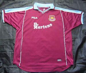 WEST HAM United Hammers Home Shirt Jersey FILA 1999 2000 Dr Martens ... 6f1e9b431