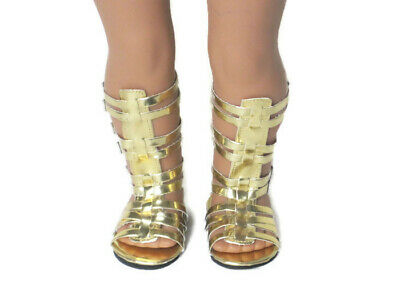 Tall Gold Gladiator Sandals Shoes for American Girl 18 inch Doll Clothes