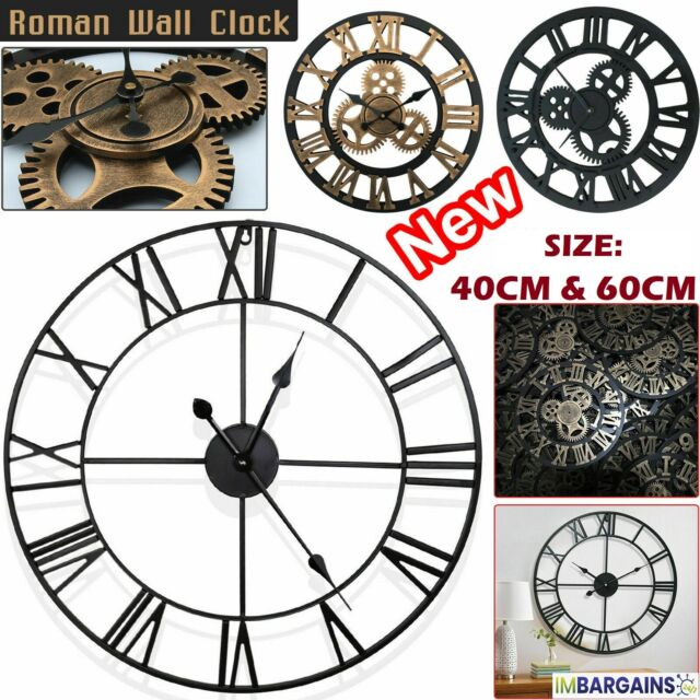 Extra Large Roman Numerals Skeleton 40 60cm Wall Clock Giant Open Face Round