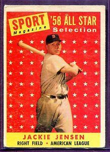 Details About Jackie Jensen 1958 Topps As All Star Baseball Card 489 Grade Vg Ex B357