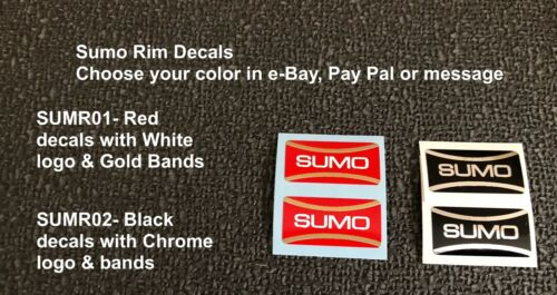 your choice of color 1 pair SUMO RIM LETTER DECALS like Araya /& Ukai