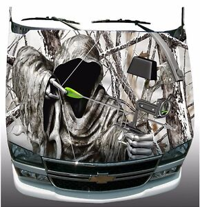 Snow Winter Camo Grim Reaper Bow Hunting Hood Wrap Sticker Vinyl - Camo custom vinyl decals for trucks