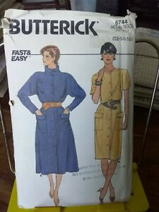 Oop-Butterick-easy-6744-misses-dress-cowl-dolman-sleeves-sz-12-16-NEW