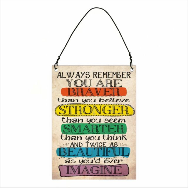 Always Remember Inspirational Retro Vintage Wall Metal Sign Plaque 7.5x10cm