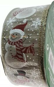 New-5-Yards-x-2-5-039-039-Wired-Christmas-Happy-Snowman-Ribbon