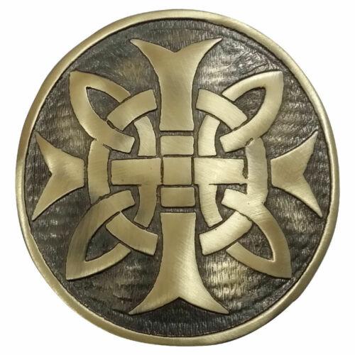 "Mens Cross Round Kilt Belt Buckle Chrome//Antique Finish 3/""//Celtic Belt Buckles"