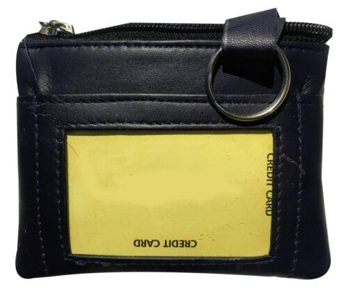 Black Genuine Leather Men/'s Coin Purse Change ID Holder Key chain Wallet