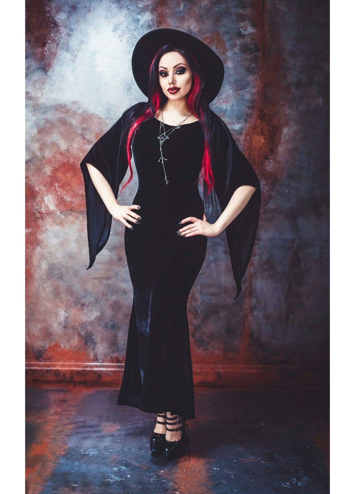 Necessary Evil Freya Velours Punk Gothique Sorcière Alternative Maxi Robe N1282