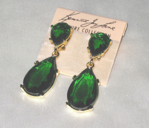 Kenneth Jay Lane Emerald Crystal Teardrop Pierced Earring In Gold Tone