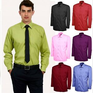 Mens Plain Office Shirt Formal Casual