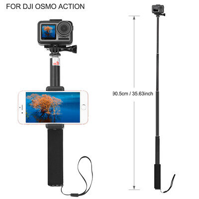"""Phone Clip Clamp 35.63/"""" Extend Selfie Stick for DJI OSMO Action Sports Camera"""