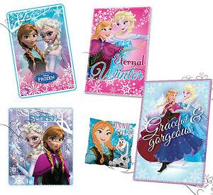 Frozen Blanket Elsa Anna Fleece Throw Cover Blue Pink Cushion Olaf