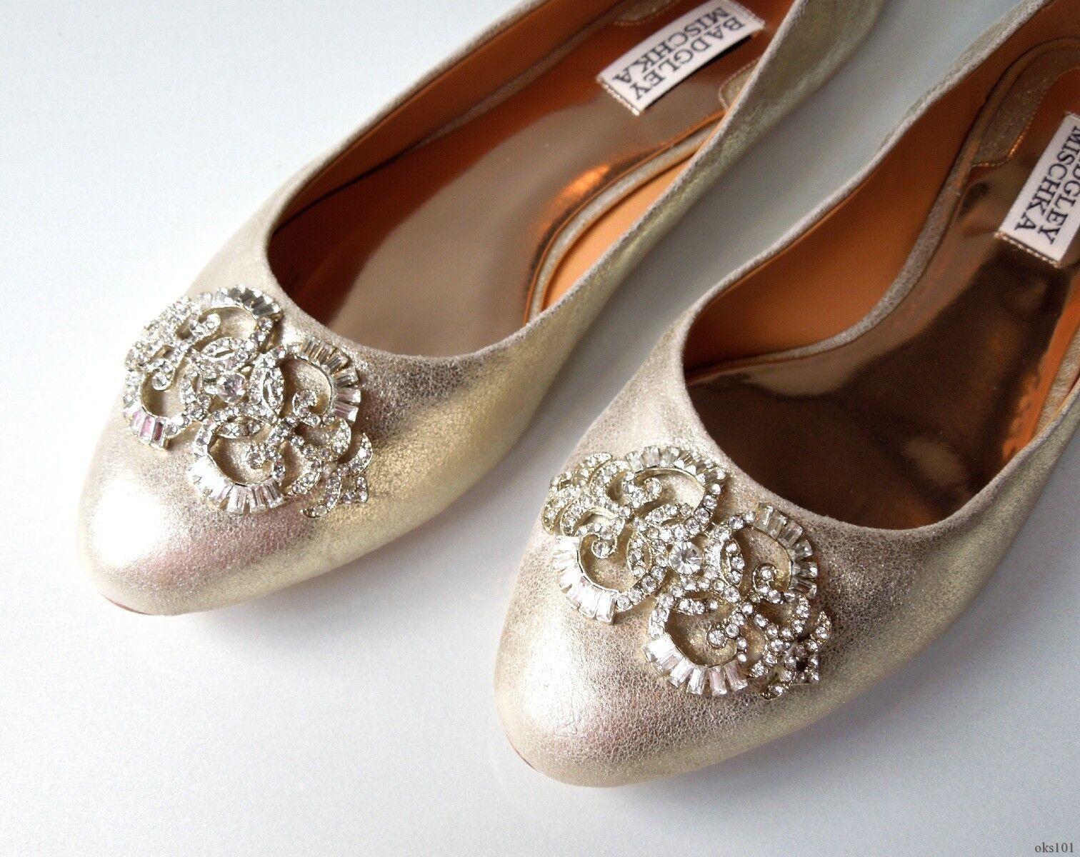 New BADGLEY MISCHKA MISCHKA MISCHKA beige nude gold JEWELED flats shoes 7.5 - WEDDING 979c99