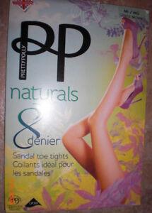 9d0b4d1c94cdc Pretty Polly Naturals 8 Denier Sandal toe Tights Gentle Brown M/L   eBay