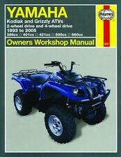 Haynes Manual for YAMAHA Kodiak & Grizzly ATV models 400 450 600 & 660cc 1993-05