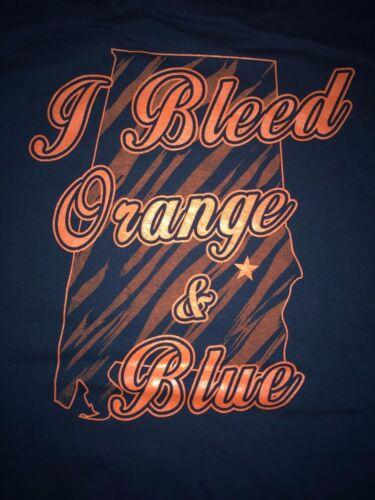"NEW 100/% Cotton Blue /""I Bleed Orange and Blue/"" Auburn T-Shirt in Size XLARGE"