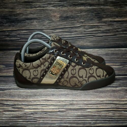 GUESS Womens Signature Shoes Sneakers Brown Gold C