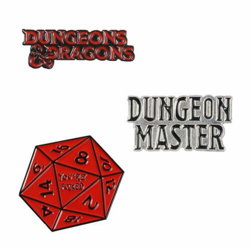 Dungeon Master Dice Metal Pin Badge Gift * Dungeons /& Dragons UK Stock