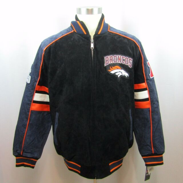 half off 0c756 0cc6e NFL Denver Broncos Mens Varsity Letterman Suede Leather Black Jacket New L,  XL