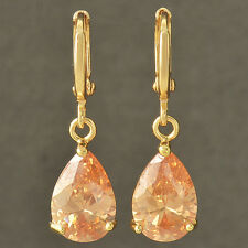 fashion Yellow Gold Filled Water Drop Champagne CZ Dangle Earrings gift