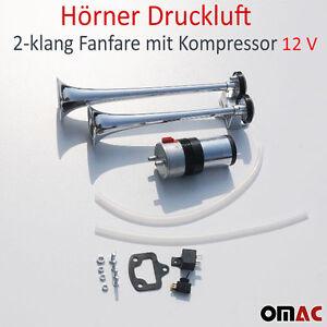 horn hupe luftdruck h rner druckluft 2 klang fanfare mit. Black Bedroom Furniture Sets. Home Design Ideas