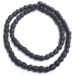 African-Ghana-matte-black-recycled-glass-trade-beads