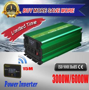 Wireless-15M-LCD-3000W-6000W-Power-Inverter-12V-To-240V-Car-Caravan-Camping-Boat