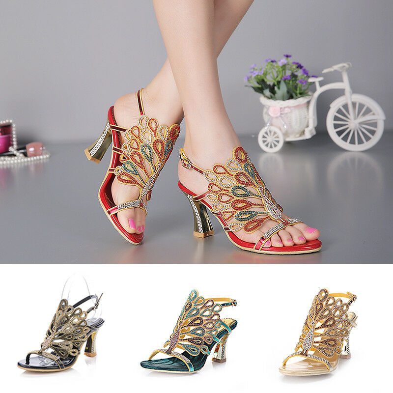 Bohemian Style Women Girl Crystal Diamond shoes Thick High Heels Sandals