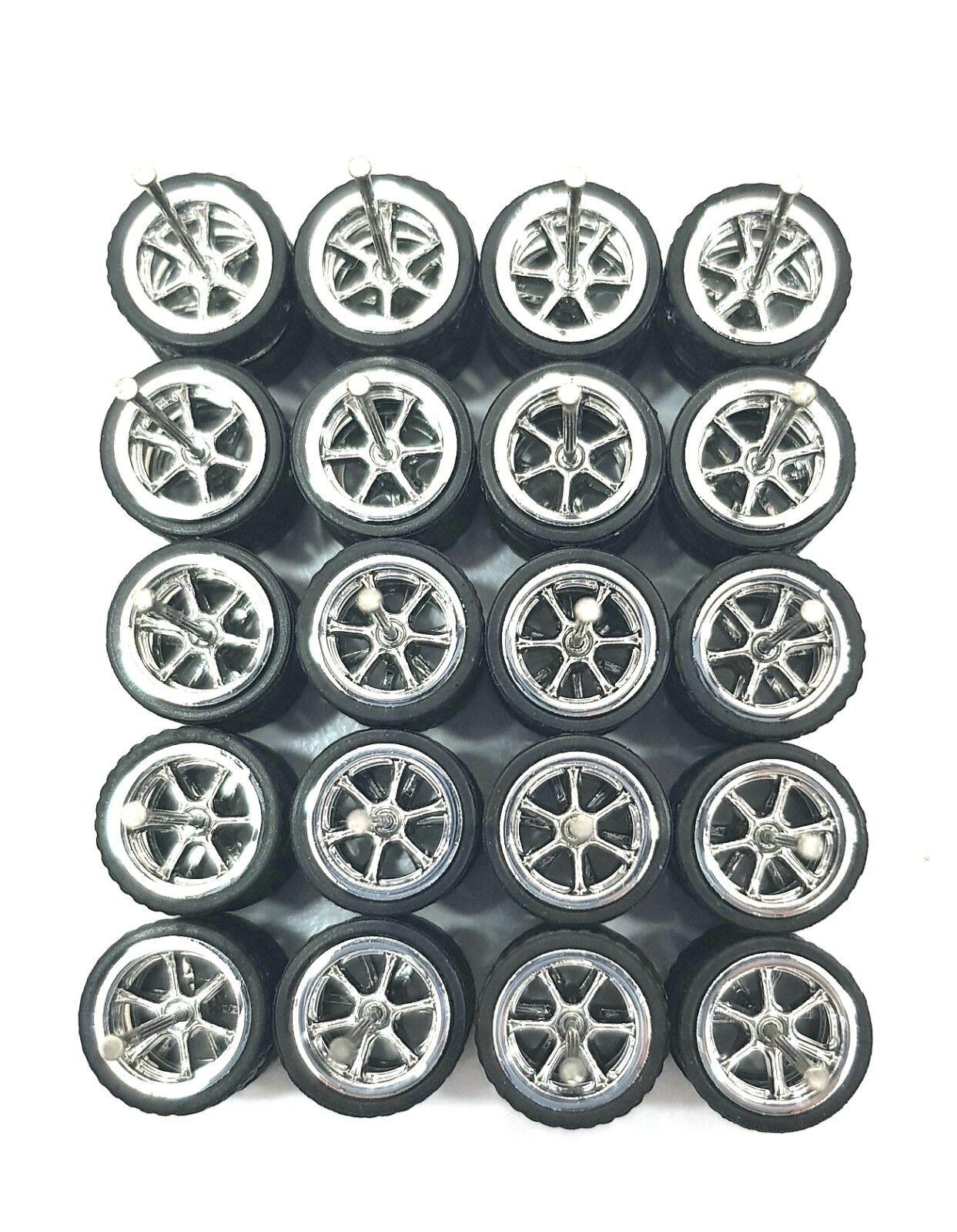 10 -uppsättningar 6 talade krom 6SP small, långaxelsutrymning 1 64 heta hjuldäck av gummi
