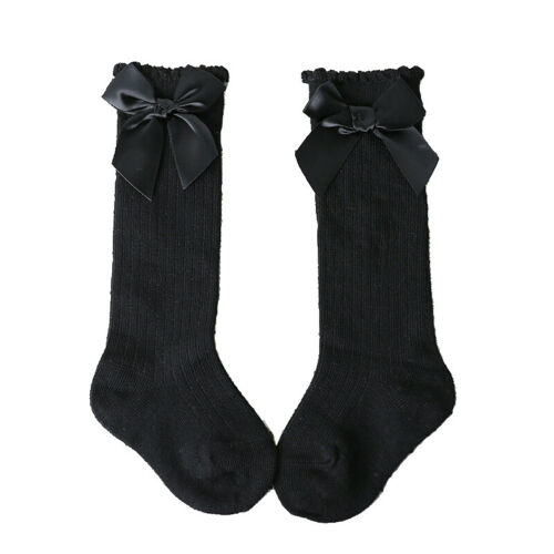 Kids Toddler Baby Girls Cotton Bowknot Knee High Long Socks Stockings 0-4Years