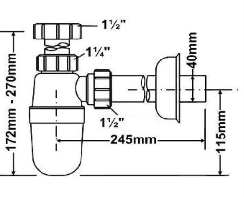 Spüle Siphon 6//4/'/' Ø40mm Geruchsverschluss Kunststoff Flaschensiphon Sifon Küche