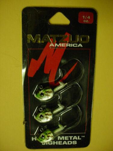 CARD OF MATZUO HEAVY METAL JIGHEADS 1//4 OZ 3 JIG HEADS PER CARD MMJ14-BASS