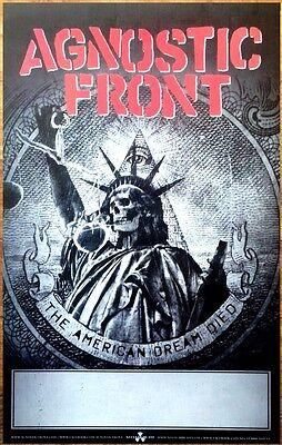 FREE Hardcore Rock Poster AGNOSTIC FRONT American Dream Died Ltd Ed RARE Poster