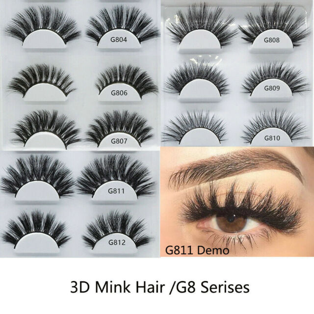 SK 5 Pairs 3D Mink Hair False Eyelashes Handmade Wispy Cross Long Lashes Makeup~