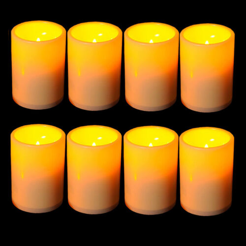 8x Resin Pillar Flickering Flameless LED Candle Lights with