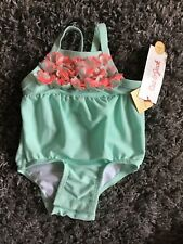 608387ea6 B77 Cat And Jack Baby Girl NEW Aqua With Pink Flowers SwimSuit 3-6 Months