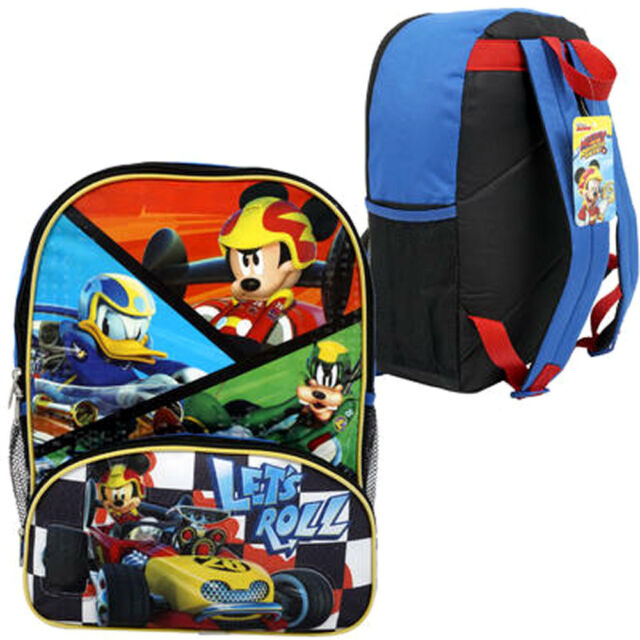 5e96278774c Disney Boys  Mickey Mouse Roadsters Backpack Blue for sale online