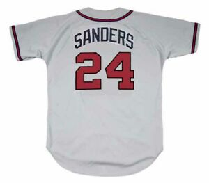 brand new 75d22 39ba2 Details about DEION SANDERS Atlanta Braves 1992 Away Majestic Throwback  Baseball Jersey
