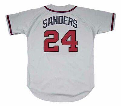 DEION SANDERS Atlanta Braves 1992 Away Majestic Throwback Baseball Jersey | eBay