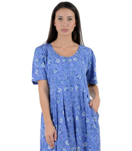 Lane resistente ptd Cotton bedrukte jurk Wrinkle D48blue 8zqvxn