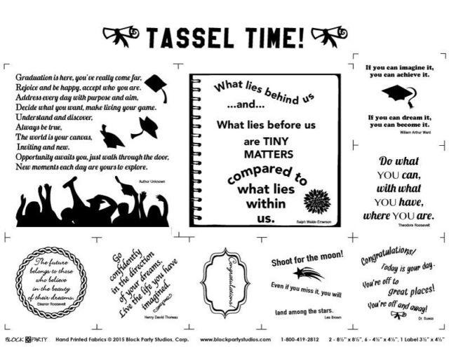 FABRIC PANEL~TASSEL TIME~GRADUATION~BLOCK PARTY STUDIOS~BLACK INK/NATURAL COTTON