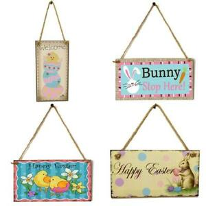 Wooden Easter Pendant Happy Easter Decoration for Home Easter Bunny Egg Door