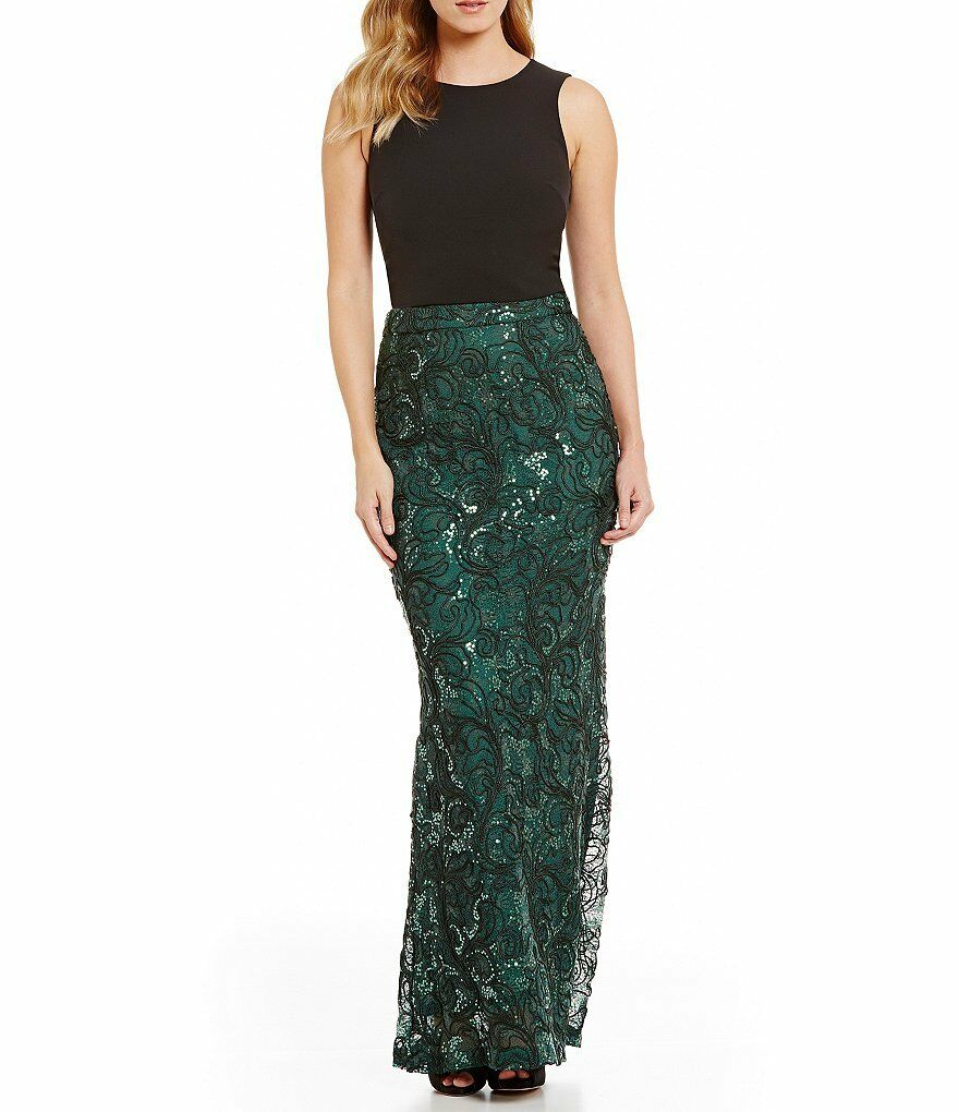 BELLE BADGLEY MISCHKA Forest Green Sequin Corded Lace Evening Maxi Skirt 4 NWT