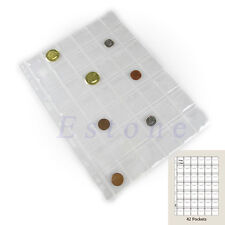 5 Pages 42 Pockets Classic Coin Holders Sheets For Collection Storage Album Case